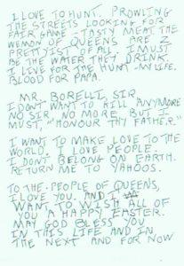 Письма с угрозами маньяка Дэвида Берковица.