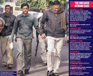 Кровавый маньяк Суриндер Коли в сопровождении полицейских.