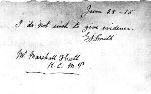 Рукописная записка Джорджа Джозефа Смита.
