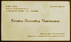Визитки маньяка Джона Уэйна Гейси.