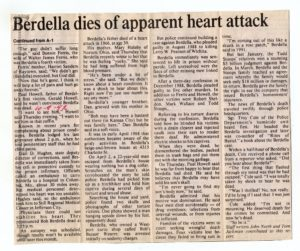 Сообщение в прессе об аресте маньяка Роберта Берделла.